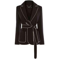 Karen Millen Contrast Piping Tailorin ($165) ❤ liked on Polyvore featuring outerwear, coats, sale women coats & jackets, fur-lined coats, karen millen and karen millen coats
