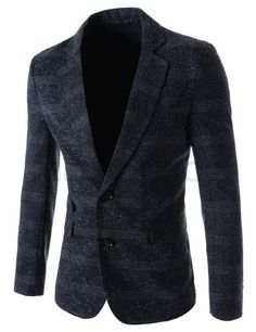 (BUTJ8104-NAVY) Mens Slim Fit Notched Lapel Single Breasted Patterned 2 Button Blazer