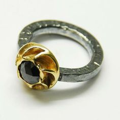 Ring, Polifemo. Oxidized silver, gold and black diamond.  By Zero43