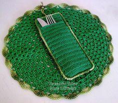 Kit Verde Bandeira de Sousplat e Porta Talher