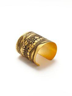 Tom Binns Gold Etched Cuff