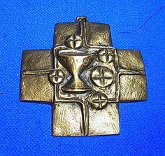 Vintage German Christianity Brass or Bronze CROSS COMMUNION  E. Weinert Time #I1