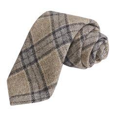 Altea Plaid Tie - Virgin Wool (For Men) in Med Grey