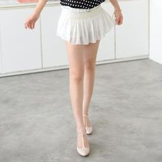 Lace Panel Chiffon Skort (Belt not Included) from #YesStyle <3 59 Seconds YesStyle.com