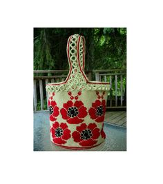 Inspiration  - Red Poppies Tote Shoulder Bag by MarinaDesignBoutique on Etsy