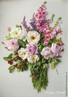 *RIBBON ART ~ Paintings of flowers handmade. Fair Masters - handmade bouquet of summer. Handmade.