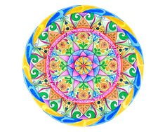 Watercolor mandala for wall hanging and meditation. Sacred geometric symbols. Colorful and spiritual painting. Yellow, blue, pink.