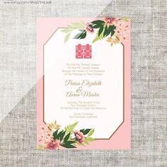 DIY Printable/Editable Chinese Wedding Invitation Card by ImLeaf Chinese Wedding Invitation Card, Wedding Invitation Card Template, Wedding Invitations Online, Invitation Card Design, Invites, Theme Color, Pink Green Wedding, Green Weddings, Pastel Mint
