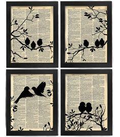 Love at First Sight, Love Birds, Birds, Bird art print set, dictionary Art, Book Art, wall Decor, Wall Art Mixed Media Collage