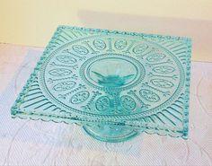 ~Sea Blue Depression Glass Style Pedestal Cake / Cupcake Stand~