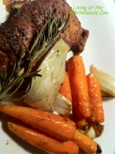 Garlic Roasted Pork Chops with fennel & carrots #recipe