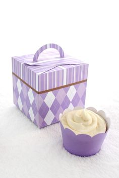 Purples Argyle and Stripes Printable Cupcake Holder Box with Wrapper