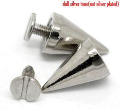 5 Sets Silver Tone Cone Spike Rivet Studs - 15x10mm