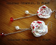Earrings Goth † Rose bloodied White sfccettate Pearl Pastel Goth on Etsy, $19.58