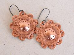 Flower Earrings chiseled copper sterling silver by elisaboutique