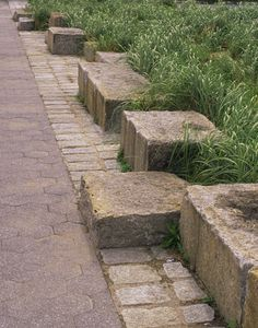 Stone edging at Manhattan Avenue Park, NYC.  Design by MNLA.