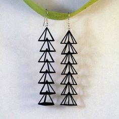 """Pyramid Earrings by Erica Schwartz: Made of nylon and steel, approx. 3.5"""" long, also available in white. $17 #Erica_Schwartz #Earrings #fab"""
