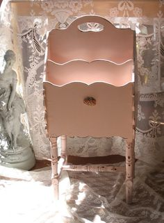 Shabby Chic Pink Magazine Rack  Book Stand with by Fannypippin,