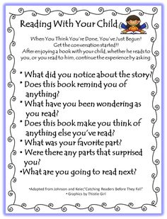 Questions to ask children about their books. Make it a fun discussion and they'll want to keep doing it!