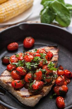 grilled swordfish with tomato and basil