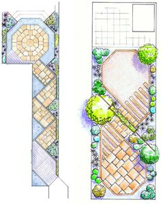 long narrow garden plan andrew spice modern square polygon polygon - Garden Design Long Narrow Plot