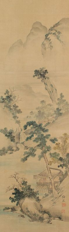 Summer Landscape, Totoki Baigai (1749-1804). Japanese hanging scroll painting.