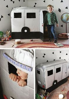 Oh, we WISH we'd had this great idea ourselves - a DIY cardboard Airstream caravan! We really love the Airstream caravan, and would love to import a load to Europe and set up a funky campsite, but the weather isn't…