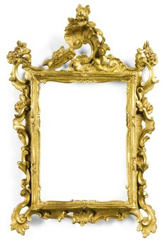A pair of Italian gilt- bronze frames, Venetian mid 18th century each of rectangular form, with a pierced cresting, the frame cast with c-and s-scrolls, flowers, leaves and rocaille    Sotheby's