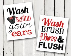 this is for 2 bathroom prints one is bathroom rules and one says wash behind