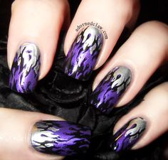 Purple Flames - Sally Hansen HD in Cyber, I'd Melt For You from China Glaze ( Konad Special polish in Black. The stamping plate Messy Mansion Black And Purple Nails, Purple Glitter Nails, Purple Nail Art, Purple Nail Designs, Cute Nail Designs, Fabulous Nails, Gorgeous Nails, Hair And Nails, My Nails