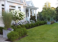 Done right, foundation plants can help your front yard become a dynamic garden space. Here are four things to consider when designing a foundation planting scheme. Front House Landscaping, Hydrangea Landscaping, Farmhouse Landscaping, Backyard Landscaping, Landscaping Ideas, Southern Landscaping, Backyard Patio, Modern Landscaping, Landscape Edging