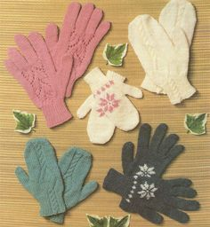 PDF Gloves and Mittens Knitting Pattern : Ladies - Mens - Boys - Girls - Family . Winter Warmers . DK Yarn . Snowflake Motif . Lacy . Cabled by PDFKnittingCrochet on Etsy