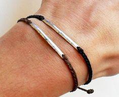 Men bracelet friendship bracelet - nylon cord with metal link bead bar via Etsy