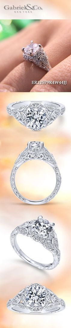 Gabriel & Co.-Voted #1 Most Preferred Fine Jewelry and Bridal Brand. 14k White Gold Round Halo Engagement Ring