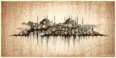 ◾Original coffee drawing on watercolour paper ◾ black and sepia ink, water, coffee ◾50x25cm ◾Created 02/2021 ◾© 2021 PAVEL FILGAS ART ◾#Turkey #Istanbul #HagiaSophia #SultanahmetDistrict #BlueMosque #GrandBazaar #bw #Orient #drawing #sketching #inkdrawing #pavelfilgasart #painting #architecture #architecturedrawing #archsketch #painting #niceart #originaldrawing #archsketch #inspiration #citydrawing #handmade #design #homedecor #style #interiordesign Ink Water, City Drawing, Web Gallery, Blue Mosque, Coffee Drawing, Hagia Sophia, Grand Bazaar, Less Is More, Handmade Design