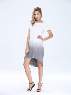 Gradient Brief Loose Elegant Women Dress