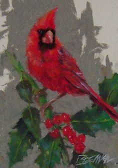 Christmas Cardinal, painting by artist Mike Beeman