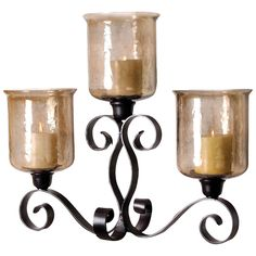 Cheyenne Mantle Lighting in Rustic and Hammered Brown Lustre