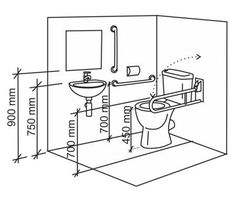Disabled Bathroom Design - Disabled Bathrooms by Bathroom Images Bathrooms for Disabled accessible bathroom plans information It is almost impossible to f. Handicap Toilet, Handicap Bathroom, Bathroom Plans, Bathroom Toilets, Bathroom Layout, Bathroom Interior, Small Bathroom, Bathroom Fixtures, Kitchen Interior