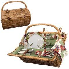 Picnic Time Barrel Picnic Basket, Service for 2, Pine Green : Amazon.com : Kitchen & Dining