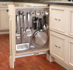 Small Kitchen Ideas to Make Spacious Kitchen Illusion I like metal peg board