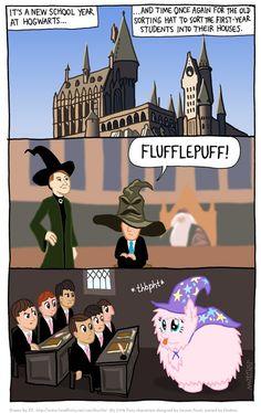#409496 - artist:kturtle, comic, fluffle puff, harry potter, oc, pun, safe, trixie's hat - Derpibooru - My Little Pony: Friendship is Magic ...