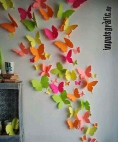 Butterfly Wall Art, Paper Butterflies, Butterfly Crafts, Paper Flowers Diy, Flower Crafts, Diy Paper, Paper Crafting, Butterfly Template, Crown Template