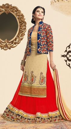 This georgette long choli lehenga in classy red and cream color with matching dupatta which is ornamented with embroidery work. It has heavy work of zari, resham, embroidery, stone and lace done on the skirt part and it have embroidered blue long koti which is increasing its beauty. This unstitched choli can be stitched in the maximum bust size of 40 inches, Lehenga Waist is 38 inches and lehenga length is 42 inches.