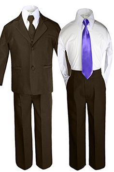 708bc4e3a Unotux 6pc Boy Kid Baby BROWN Formal Tuxedo Suits set Extra PURPLE Satin Necktie  SM-