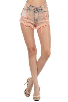 Peach Color Acid Denim High Waist Shorts Cut Off Back Pocket (FREE SHIPPING)