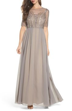 ADRIANNA PAPELL EMBELLISHED GEORGETTE GOWN. #adriannapapell #cloth #