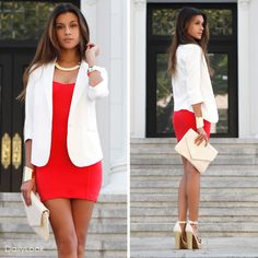 Blood orange dress white blazer and heels. Loving the combo