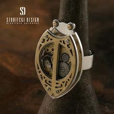 Steampunk BUG ring made with silver and brass