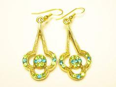 Green rhinestone drop pierced earrings epsteam by betsstuff on Etsy